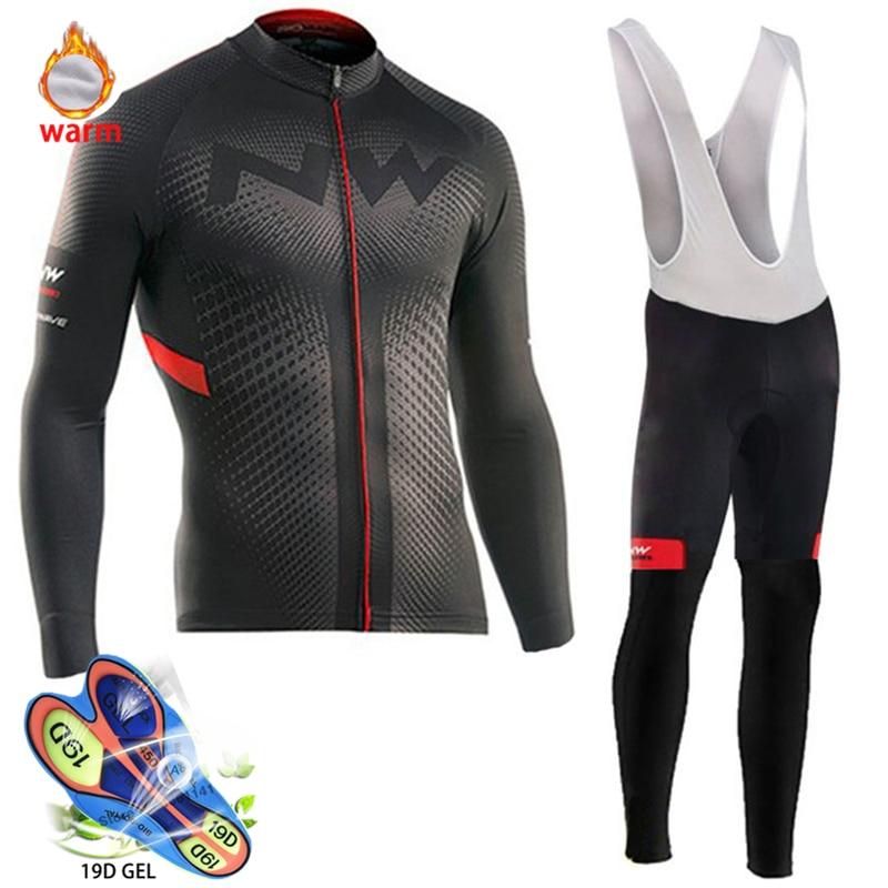 2019 Pro Team Winter Thermal Fleece Cycling Clothes Men Long Sleeve Jersey Suit Outdoor Riding Bike MTB Clothing Bib Pants Set