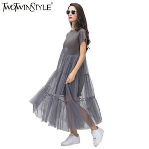 Image 2 - TWOTWINSTYLE Summer Korean Splicing Pleated Tulle T shirt Dress Women Big Size Black Gray Color Clothes New Fashion 2020