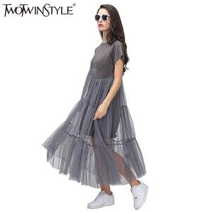 Image 2 - TWOTWINSTYLE קיץ קוריאני שחבור קפלים טול T חולצה שמלת נשים גדול גודל שחור אפור צבע בגדים חדש אופנה 2020