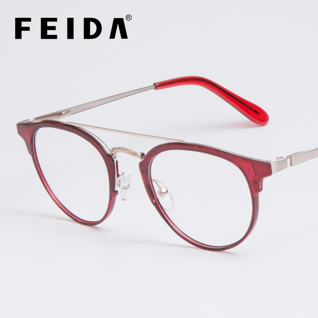 a11241aed25 FEIDA Clear Glasses Frame Anti Blue Light Glasses Women Fake Glasses red Optical  Eyeglasses Frame Transparent Oculos YX0414-1