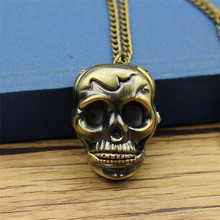 Vintage Bronze Steampunk Hollow Skull Head Horror Quartz Pocket Watch with Chain for Girls and Women men Necklace watch