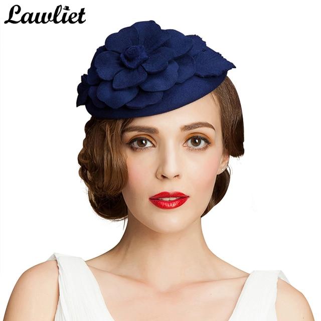 Otoño Invierno boina sombrero Mujer Flor lana Sombrero estilo GATSBY pelo  pastillero sombrero señora cóctel vestido 634b14d5683