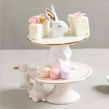 Корейский стиль милый кролик тарелка для фруктов, пирожных тарелка для закусок творческой модель номер кофейный столик для ресторана Настольный ящик для хранения