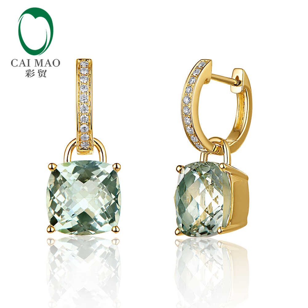 9e3616d27 ... Caimao 10mm Green Amethyst Cushion 9.75ct SI G-H Diamond 14kt Yellow  Gold Detachable Drop Earrings ...