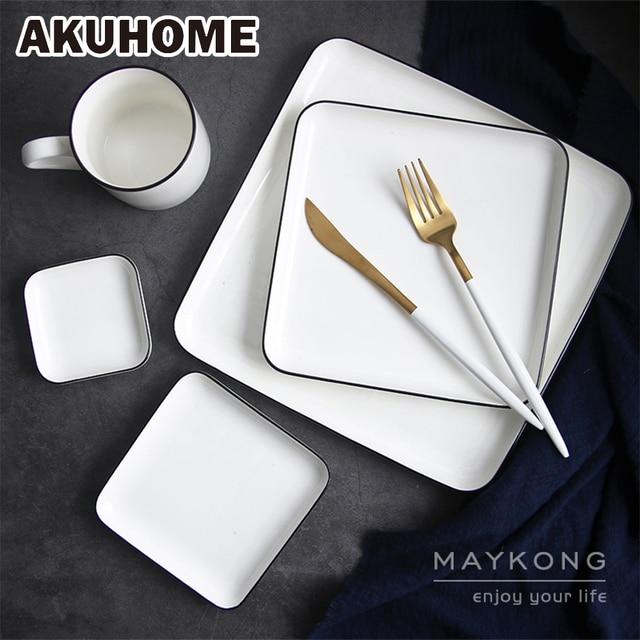 Simple European Style Ceramic Square Plate 5 8 10 Inch Rectangle Plate Black Stripe China Bone & Simple European Style Ceramic Square Plate 5 8 10 Inch Rectangle ...