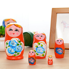 Wooden doll set hand-painted decorative Russian baby girl 5 suit