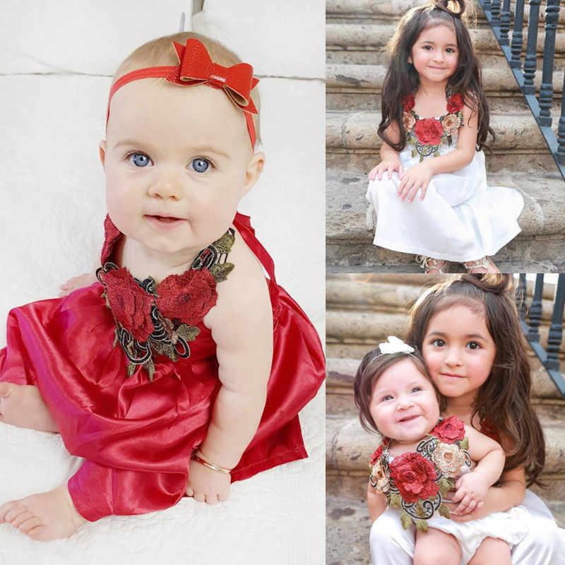 Robe de soirée à fleurs 3D pour bébés filles | Tenue de soirée, sans manches, Mini robes formelles, vêtements d'été pour enfants 6M-5T