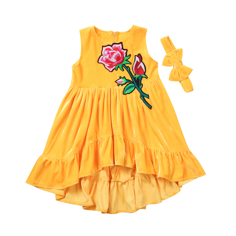 CANIS 1-5T Children Baby Girl yellow dress Kids sunny Floral Velvet Ruffled flower applique Party Dresses bebe Dress girlsCANIS 1-5T Children Baby Girl yellow dress Kids sunny Floral Velvet Ruffled flower applique Party Dresses bebe Dress girls
