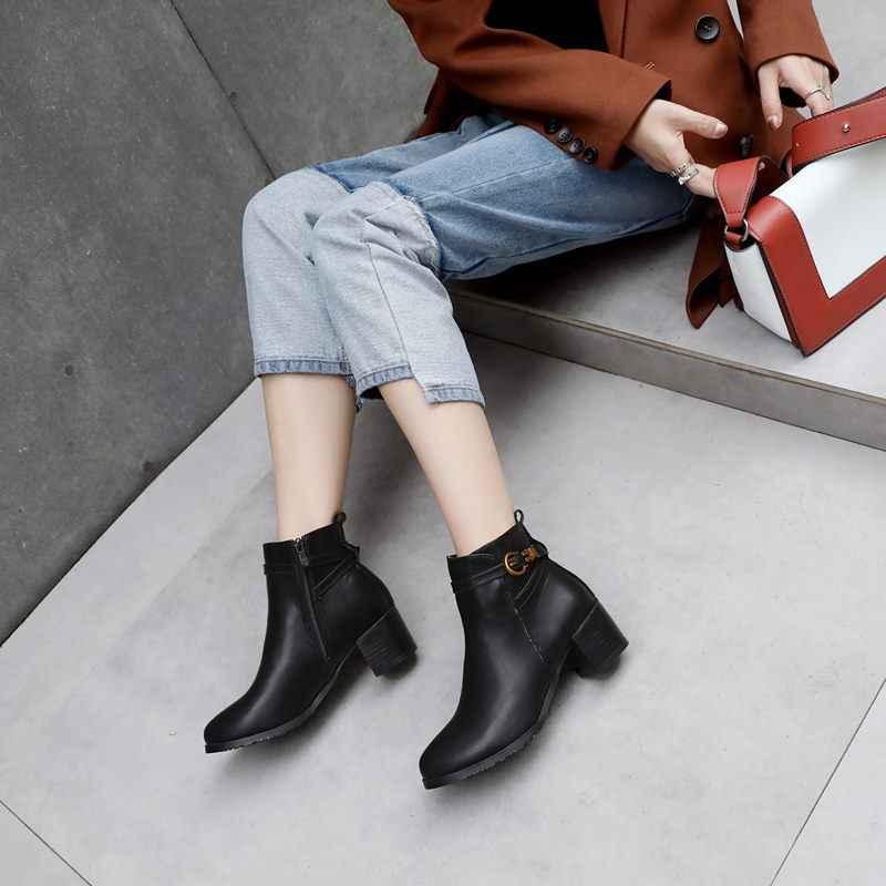 EGONERY punk frauen schuhe grün grau schwarz zipper 4,5 cm heels booties casual stiefeletten winter kampf stiefel plus größe