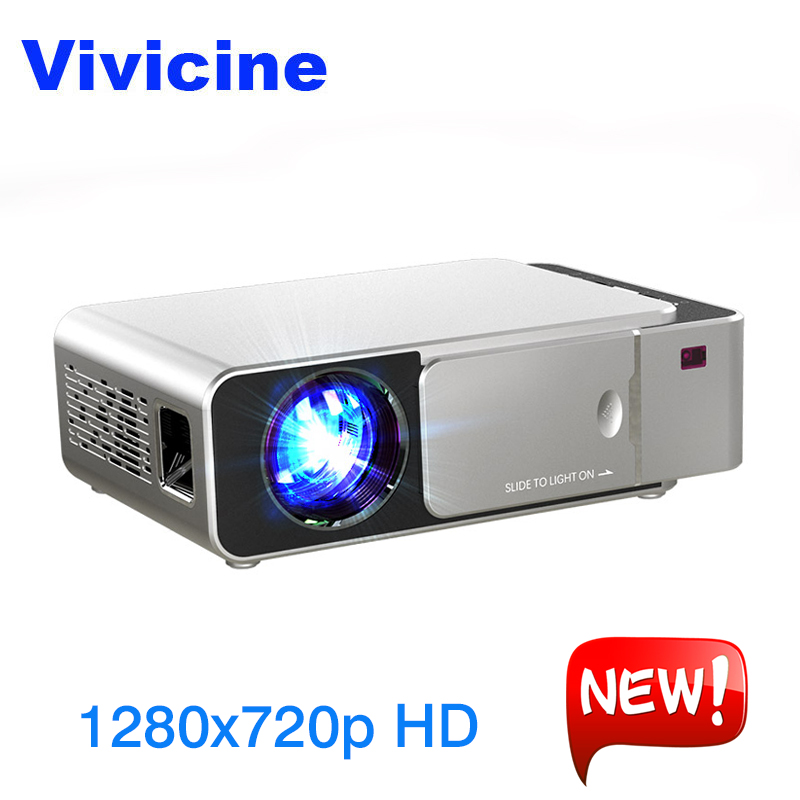 VIVICINE 1280x720 p HD LED Projecteur, android 7.1.2 HD Portable HDMI USB PC 1080 p Home Cinéma Proyector Bluetooth WIFI Beamer