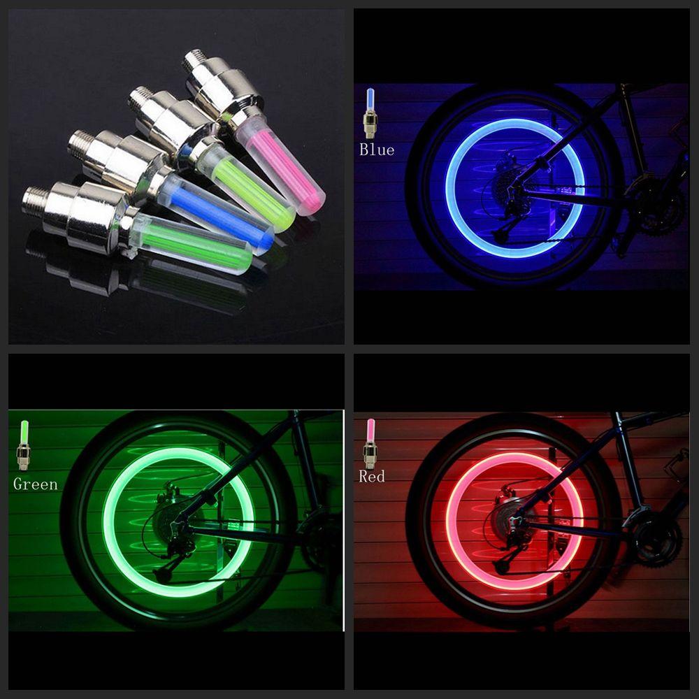 2x LED válvula tapas radios luz multicolor para bicicletas coches bicicleta válvula luz