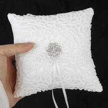 Ivory Floral Satin Wedding Ring Pillow