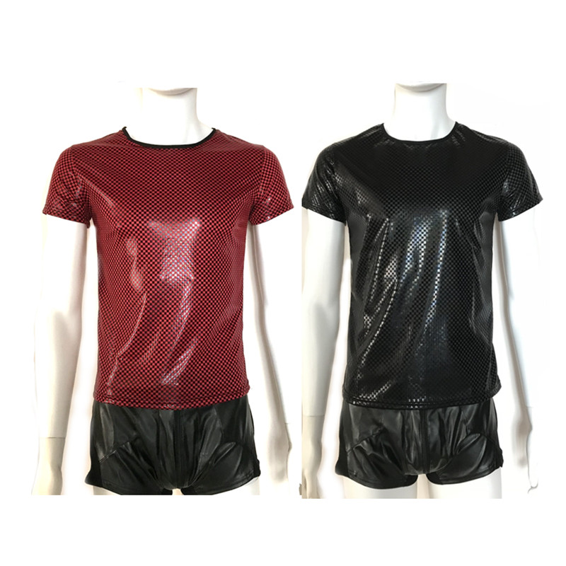 Drop Shipping Round Collar Short Sleeve Slim PU Black/Red T-Shirt for Men Faux Leather Tee Tops