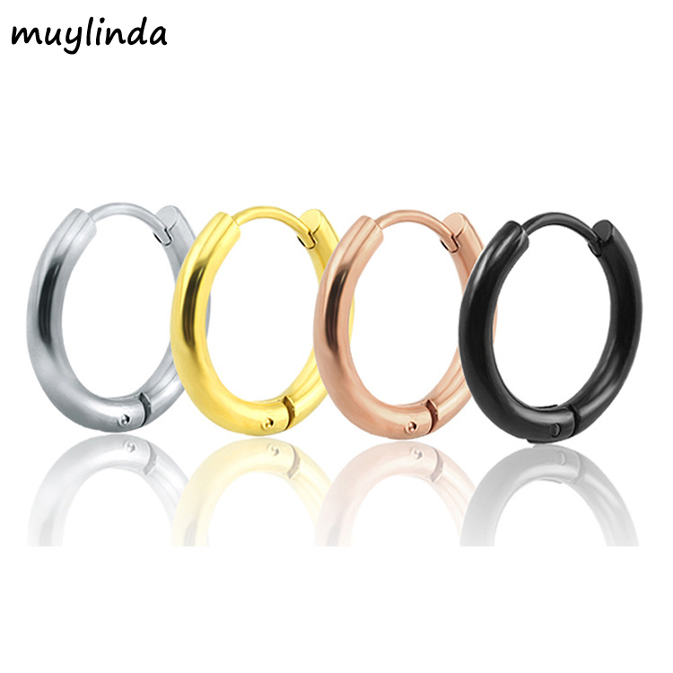 Small Hoop Earrings 4 Color Stainless Steel Hoop Earrings For Women Men Circle Earrings Creole Argollas Pendientes
