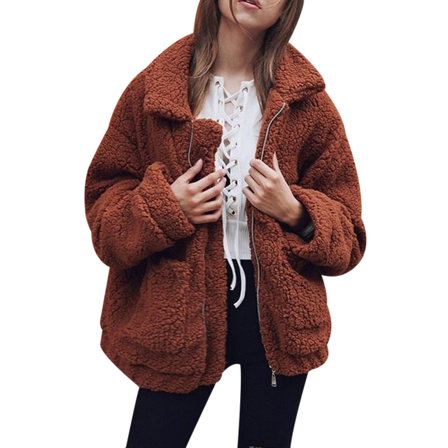 Модные Искусственный мех теплое пальто Для женщин пушистый Shaggy Кардиган, жакет на молнии Для женщин S Верхняя одежда отложной воротник Топы корректирующие пальто женские Mujer