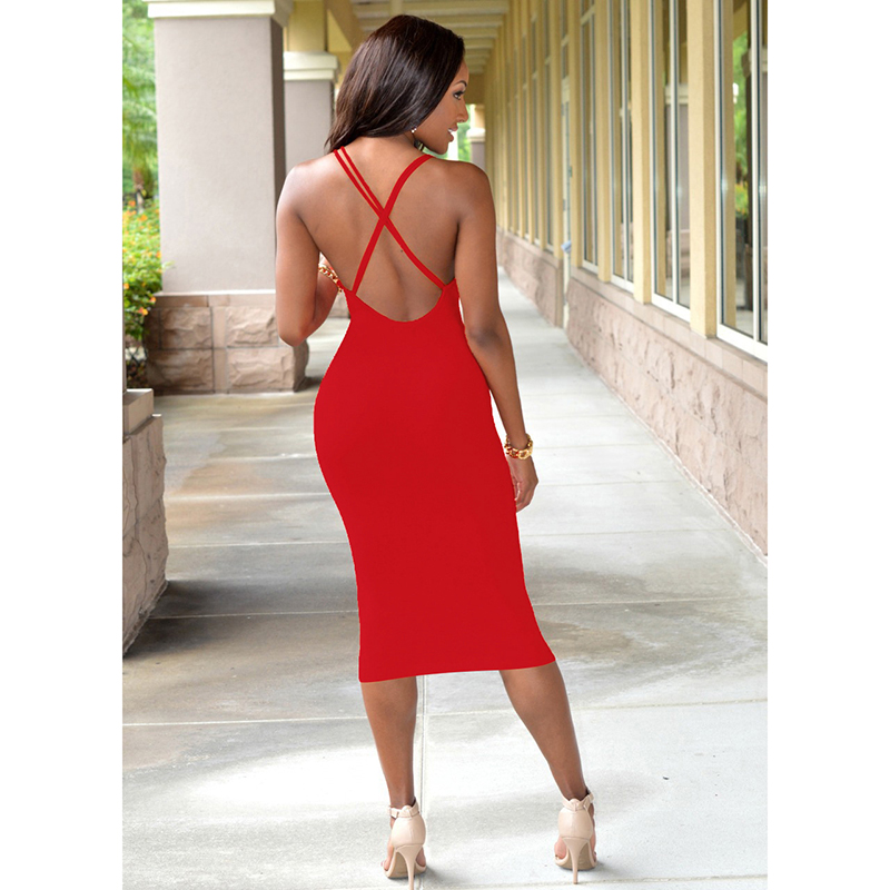 Lasperal Women Backless Bandage Sheath Bodycon Dress Solid Spaghetti Strap Y Night Club Party Dresses Vestidos Robe Femme In From S