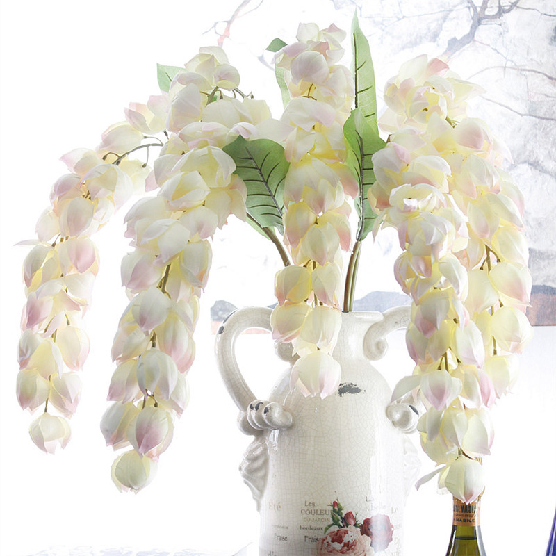 Artificial Decorations Artificial & Dried Flowers New Hi-q Artificial Lantern Flower Rattan Wisteria Diy Wedding Flower Vine Hanging Christmas Party Flower Wall Decor Wisteria