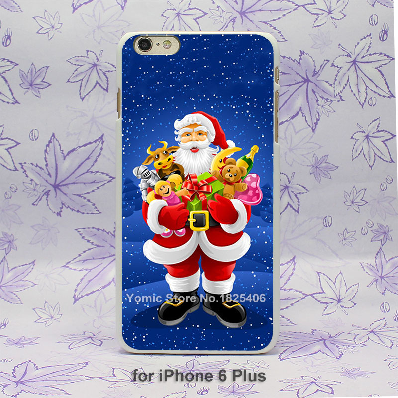 Happy New Year christmas santa claus Pattern hard White Skin Case Cover for iPhone 4 4s 4g 5 5s 5g 5c 6 6s 6 Plus