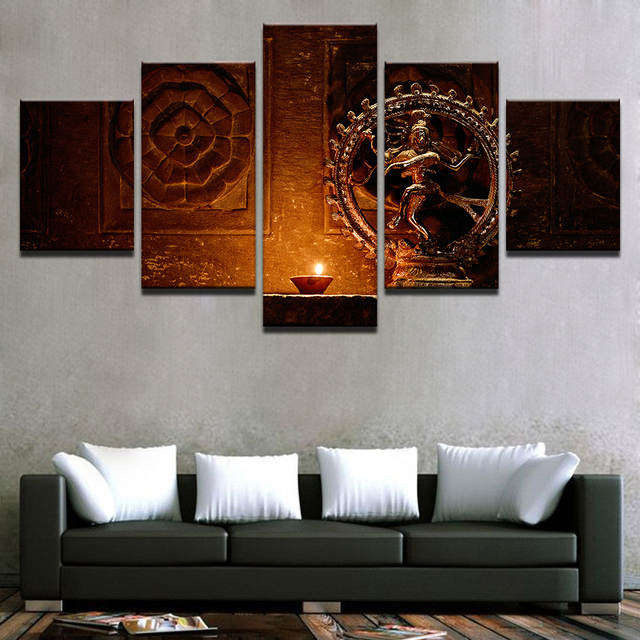 Online Painting Poster Modern Wall Art Frame Prints Type 5 Panel Shiva Nataraja Statue India Vintage Picture Home Decor Living Room Aliexpress