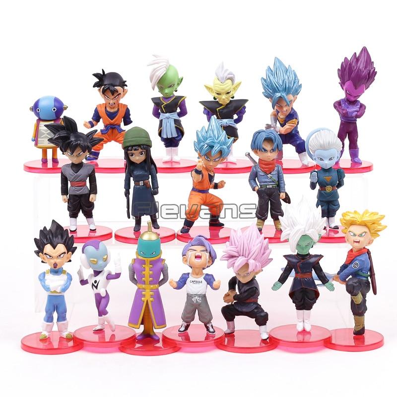 Dragon Ball Super PVC Chiffres Jouets 18 pcs/ensemble Super Saiyan Bleu Fils Goku Gohan Vegeta Trunks Mai Zamasu Goku Noir