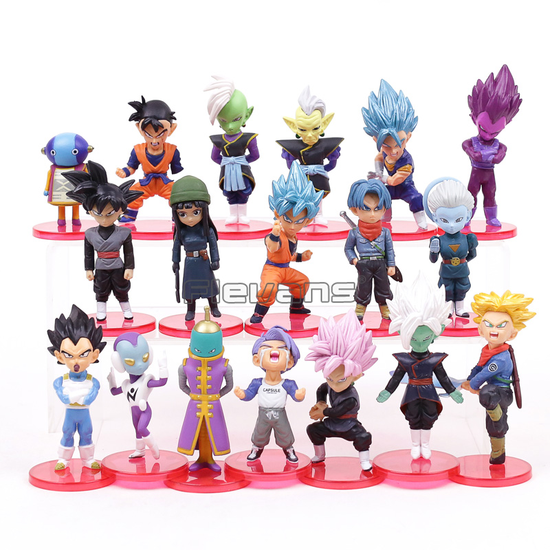 Dragon Ball Super PVC figuras juguetes 18 unids/set Super Saiyan azul son Goku Gohan vegeta Trunks Mai zamasu Goku negro