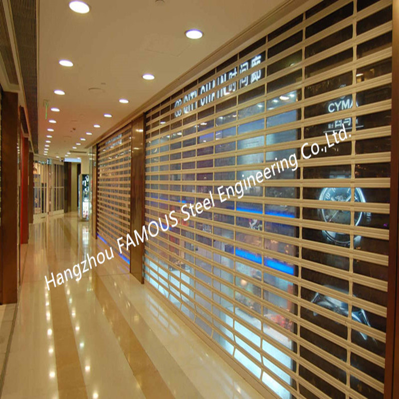 Motorized Crystal Clear Commercial Rolling Doors Polycarbonate Overhead Doors For Sale