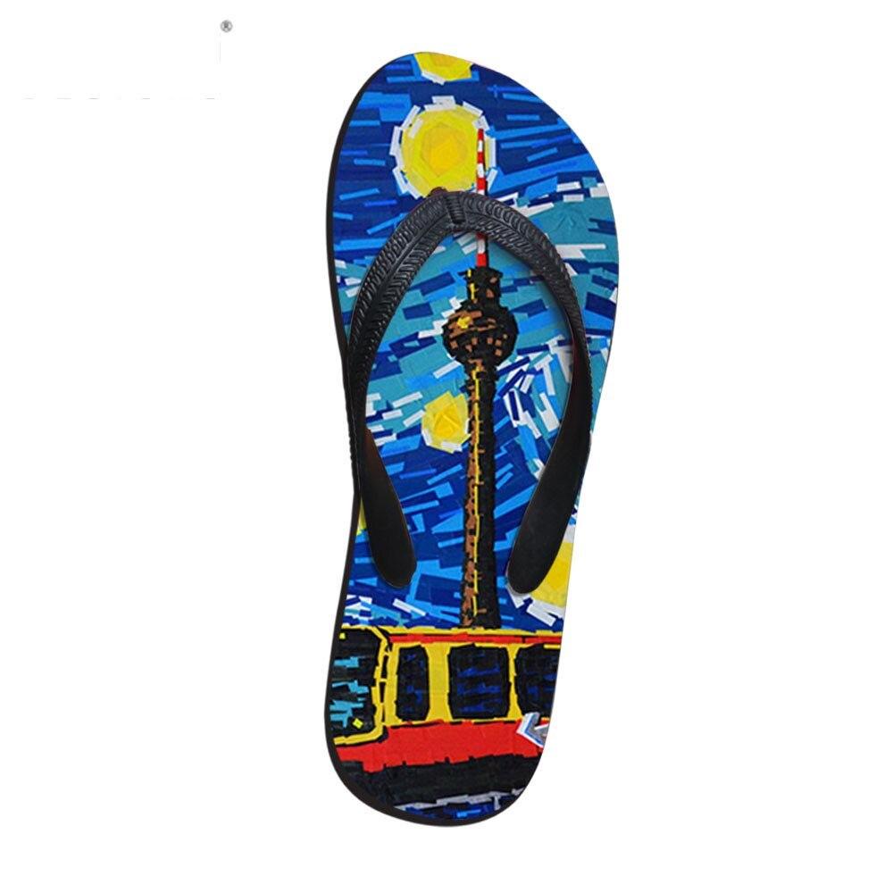 Customized Beach Slippers Flip Flops Mens Oil Van Gogh Galaxy Slippers EVA Men Shoes Summer Sapatos Hembre Sapatenis Masculino