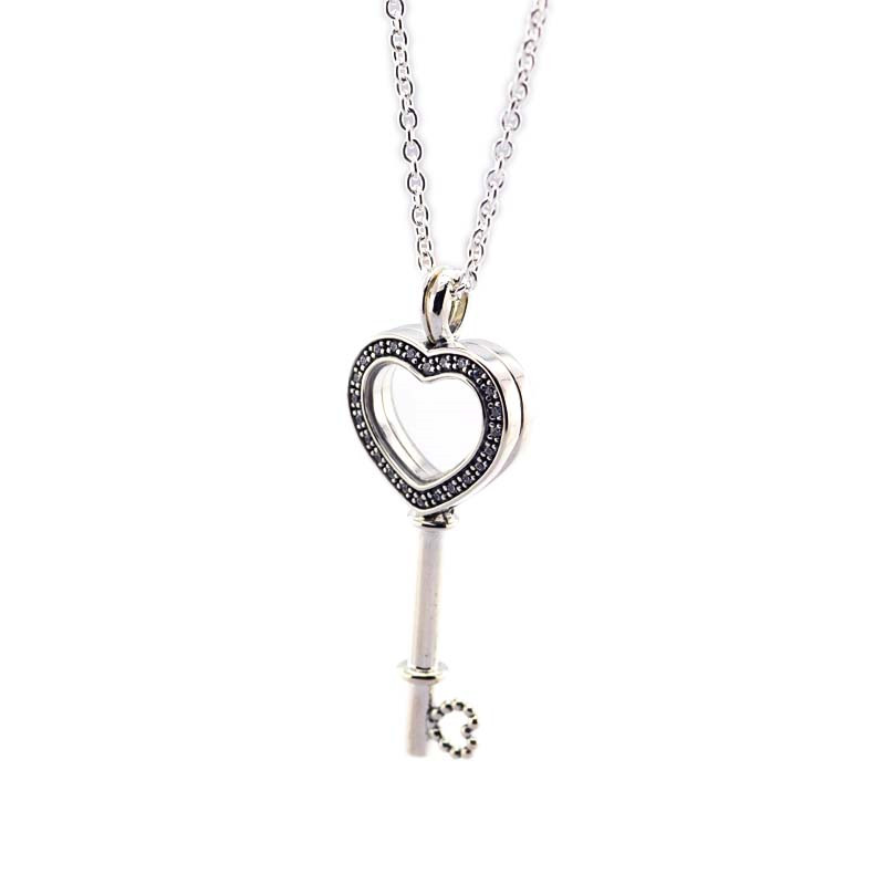 Pandulaso Floating Locket Heart Key Necklaces for Women Clear CZ Glass Pendants & Necklaces Valentine's Silver 925 Jewelry DIY