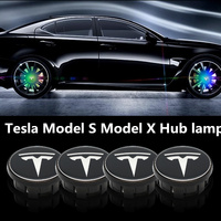 4X Car Floating Illumination Wheel Caps LED Light Center Cover Lighting Cap Auto Accessories For Tesla Model S Model X 2017 2018