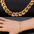 U7 Cuban link chain Bracelet men Jewelry Rose gold/Yellow Gold Plated 21cm 8MM Thick Chunky bracelet Wholesale H551