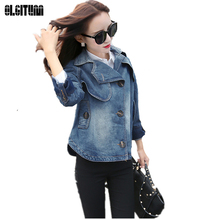 2017 European fashion loose cape-style coat casual denim jacket short coats Women's Jacket Tops JK458