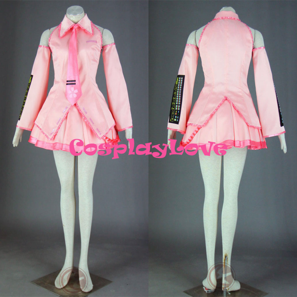 High Quality Stock Japanese Anime Vocaloid Pink 1th Sakura Miku Hatsune Cosplay Costume Dress For Halloween Size(XXS-3XL)