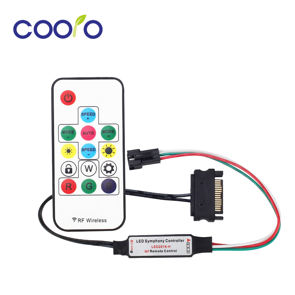 5v-24v-14-keys-sata-power-supply-interface-rf-symphony-controller-with-remote-controller-for-ws2812-ws2812b-led-strip-light