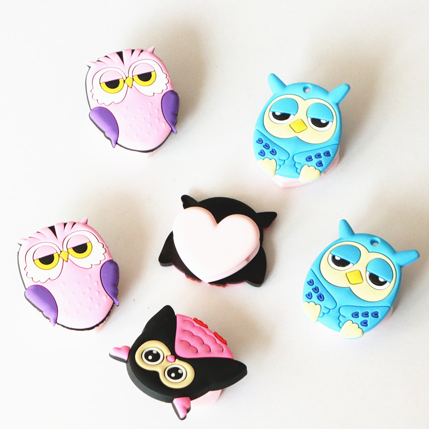 Free Shipping 2pc Cute Owl plastic paper clip stationery spring clip binder clip office supplies