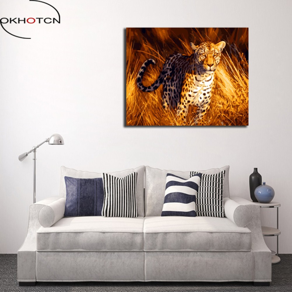 OKHOTCN Leopard Oil Painting By Numbers On Canvas DIY Wall Pictures For Living Room Framed Digital