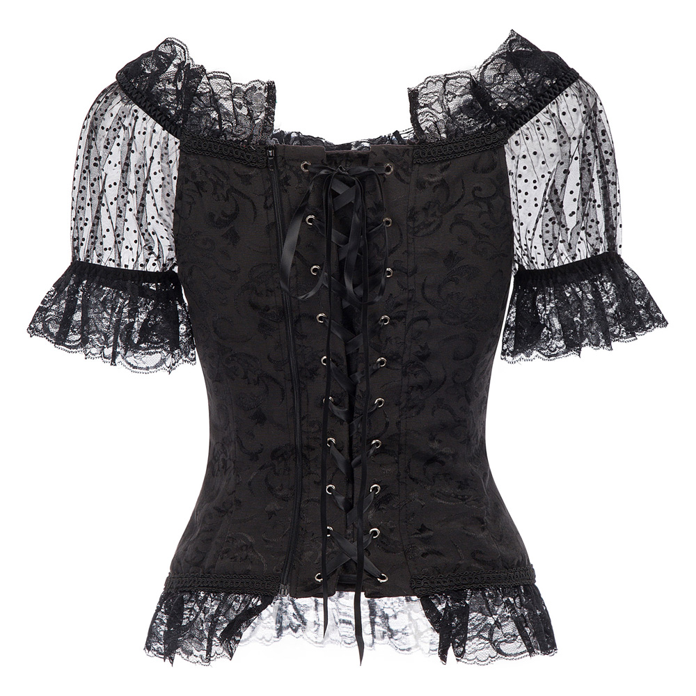 Women Renaissance Corset Style Top 2018 Summer Short Sleeve Off Shoulder Lace-up Vintage Casual Shirts Black Gothic Punk Tops