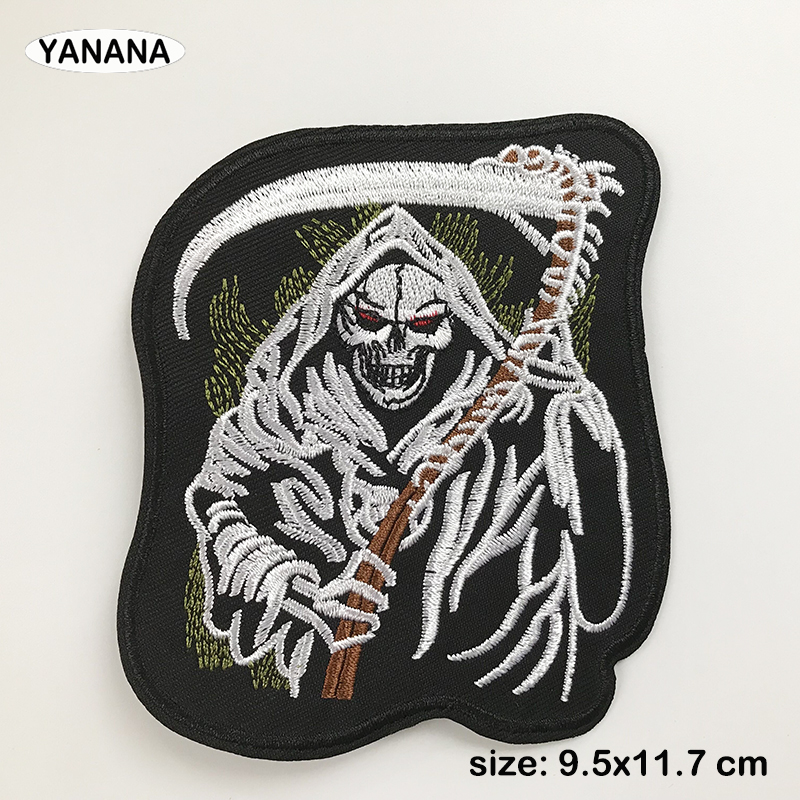 death skull head biker patches embroidery for iron on Clothing punk patch stick transfers applique jacket accessorie
