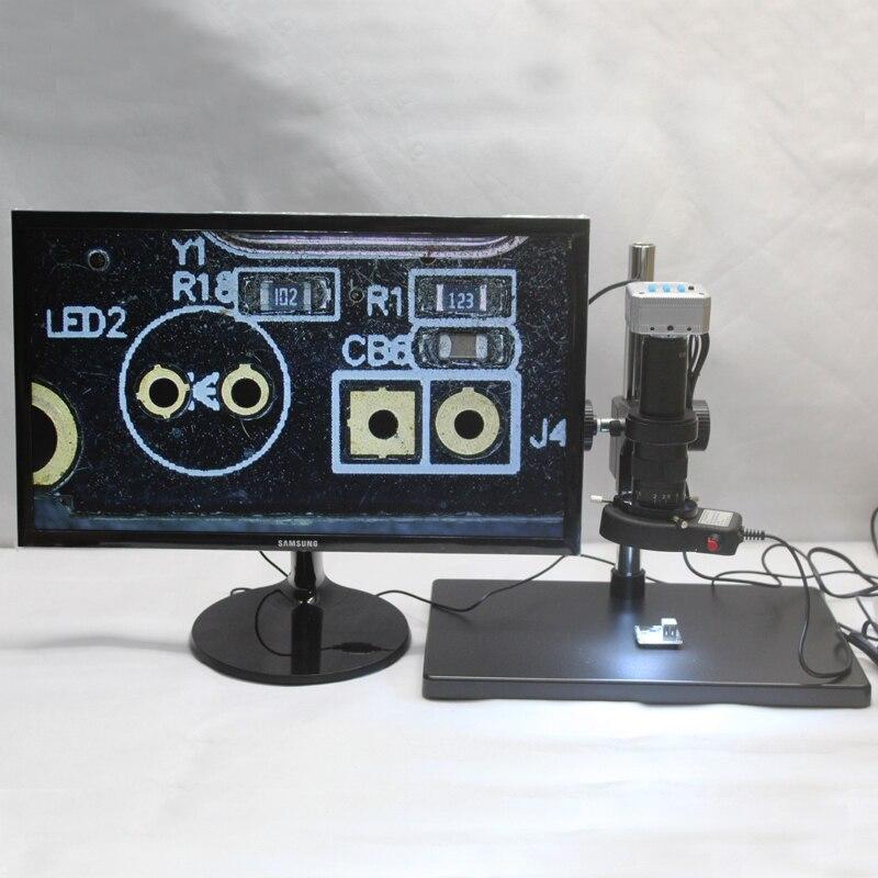 20MP 1080 p 60FPS Industrielle Microscope Caméra HDMI USB Sortie 10X-180X C-monture Grand Workbench Réglable LED Lumières