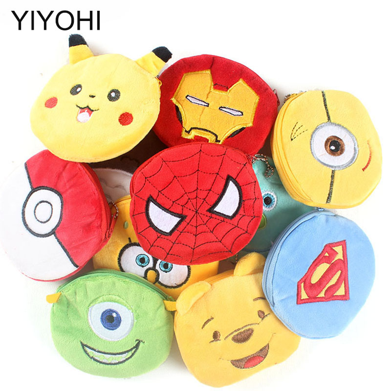 Hot On Sale Kawaii Cartoon Superman/Spiderman/Unicorn Children Plush Coin Purse Zip Change Purse Wallet Kids Girl Women For Gift yiyohi hot sale kawaii cartoon spirited away children plush coin purse zip change purse wallet kids girl women for gift