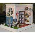 DIY Wooden Miniature Handmade Doll house Room coner Model with more furnitures/English instruciton