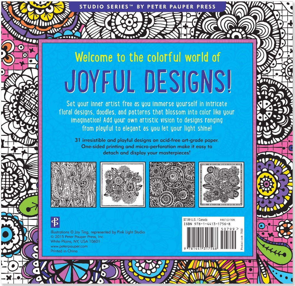Joyful Designs Artists Coloring Book 31 Stress Relieving English Adult Books Pencil In From Office School