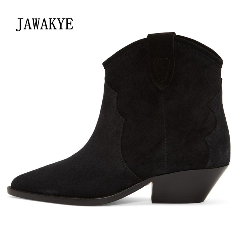 2018 Retro Black Suede Ankle Boots Woman Pointed Toe Embroider Wedges Heel Boots Woman Chic Short Boots-in Ankle Boots from Shoes    1