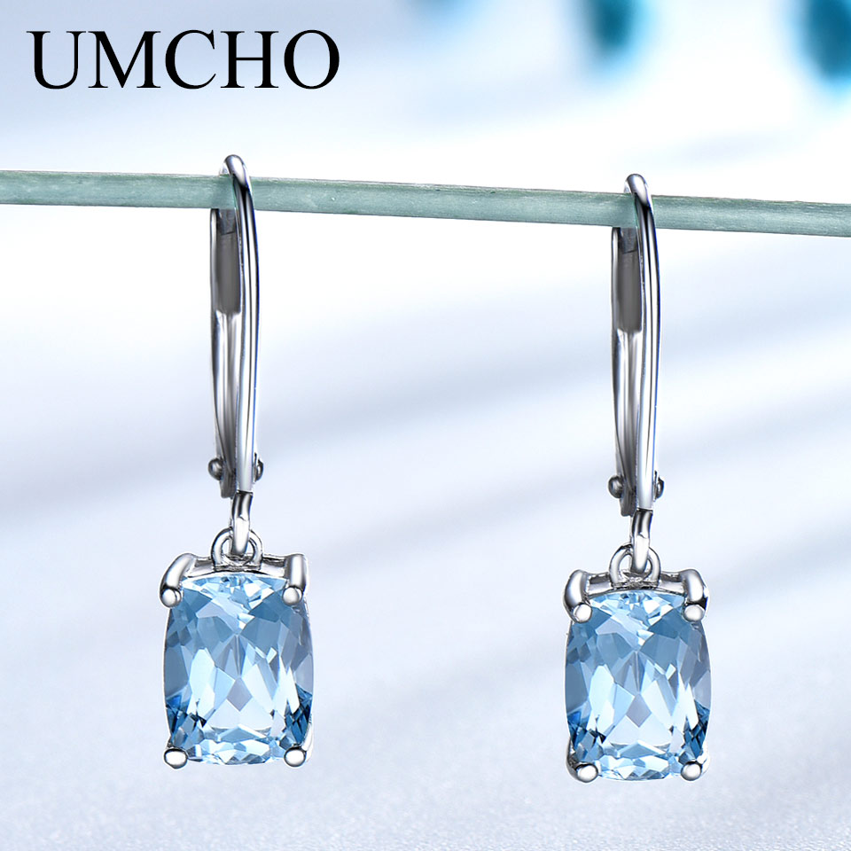 UMCHO Genuine 925 Sterling Silver Sky Blue Topaz Drop Earrings Elegant Gemstone Wedding Engagement Jewelry For Women Gifts(China)