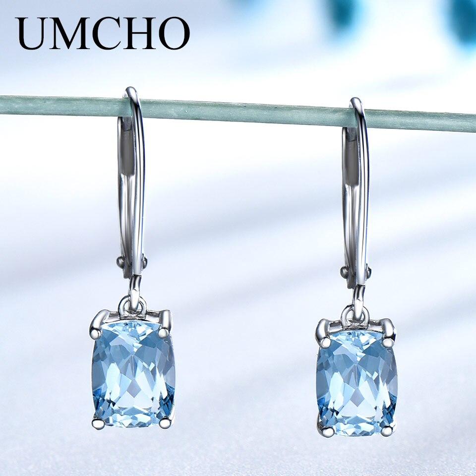 UMCHO véritable 925 argent Sterling topaze bleu ciel boucles d'oreilles élégant pierres précieuses de mariage bijoux de fiançailles pour les femmes cadeaux