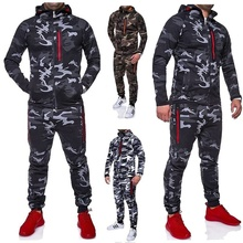 Zogaa 2019 Men Fashion Camouflage Jackets+Pants Set Male Tracksuit Outdoors Suit Men's Gyms Suit Set Casual Sportswear Hot Sale male youth fashion sportswear men s casual suit