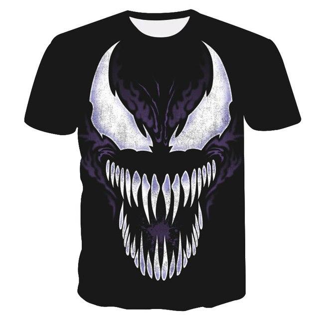 Veneno 3D Impresso T-shirt Dos Homens Casuais Camisa de Manga Curta Topos de Crossfit levantamento de Peso da Aptidão T Camisa Masculina Camada de Base
