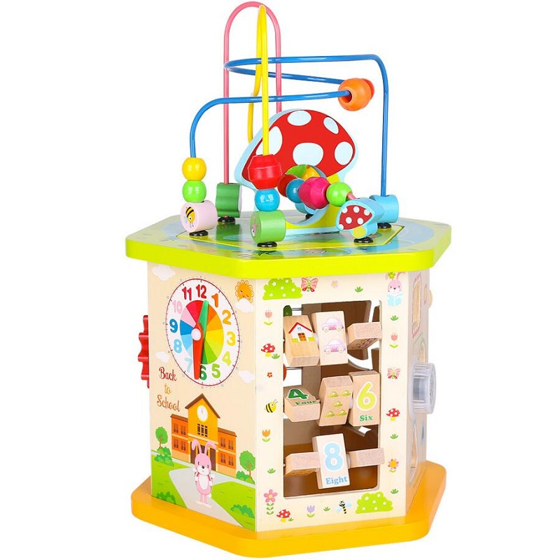 Fly AC Wooden Activity  beads beaded building blocks Maze Multi-purpose treasure chest Educational Toy for children