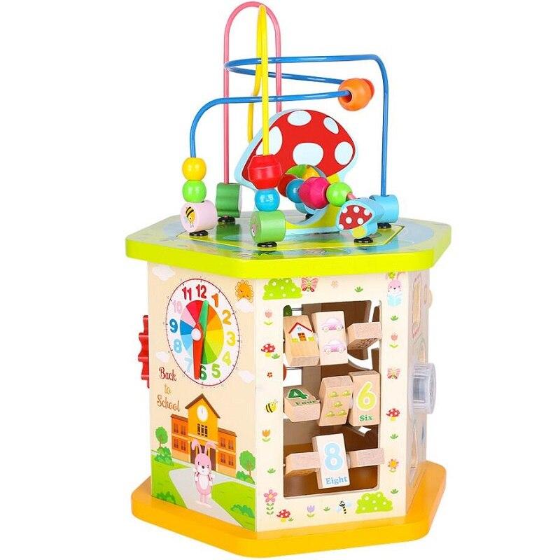 Fly AC perles d'activité en bois perles blocs de construction labyrinthe multi-usages coffre au trésor jouet éducatif pour les enfants