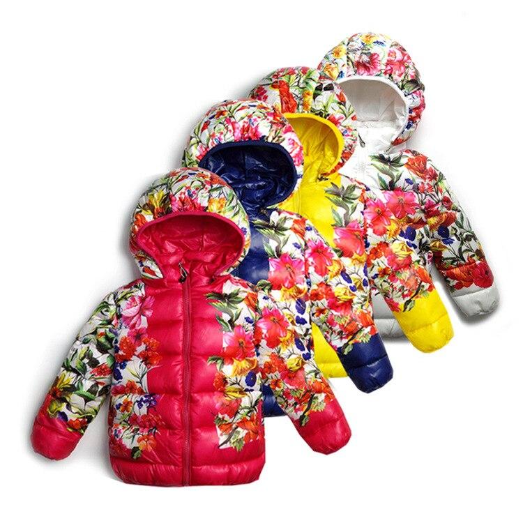 Sıcak!!! Kızlar aşağı ceket 2016 kış yeni çiçekler baskılı pamuk-yastıklı giysi kızlar rahat sıcak pamuk-yastıklı giysi ceket