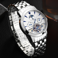 BINKADA Men S Classic Skeleton Mechanical Watches Waterproof 30M Genuine Leather Brand Luxury Hollow Automatic Watch